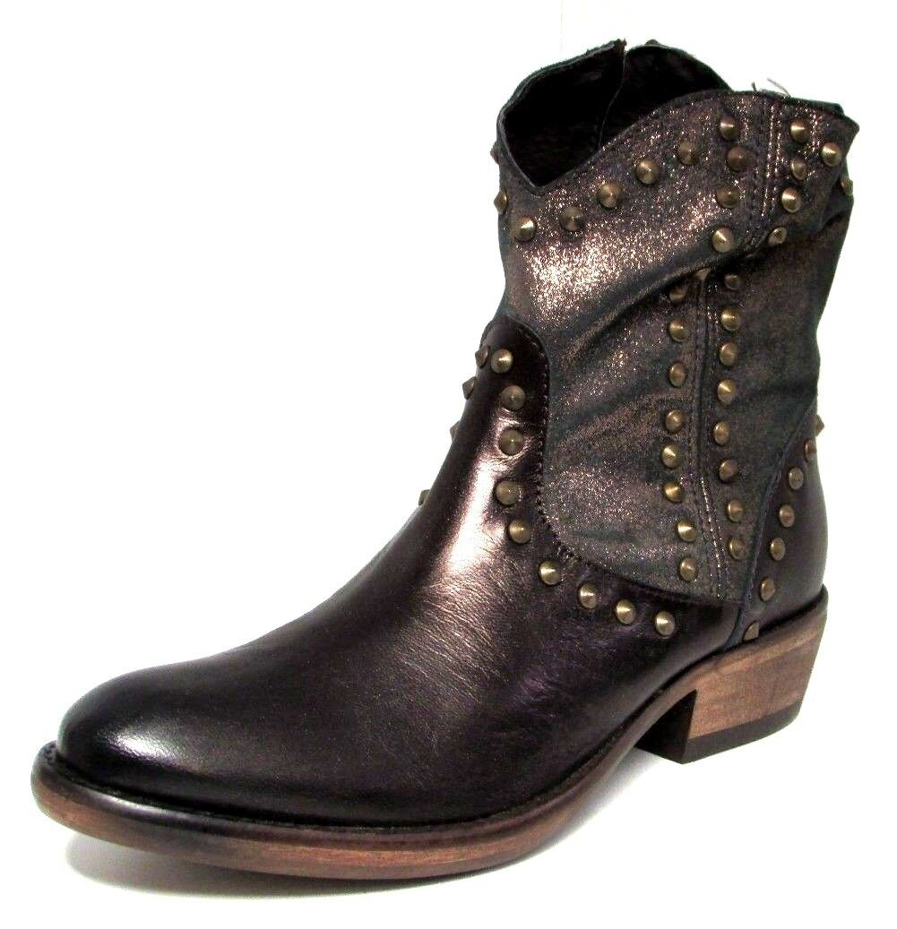 BOTTINES 41 cuir marron bronze clous zip country KENTUCKY'S WESTERN femme NEUF