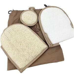 Premium Exfoliating Facial Loofah Scrubbers Pad Cleanser Sponges Gloves 3 Pack