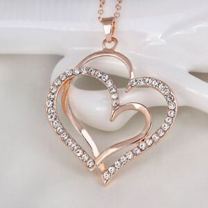 Fashion-Fashion-Jewelry-Heart-shaped-Necklace-Pendant-Peach-Heart-Necklace