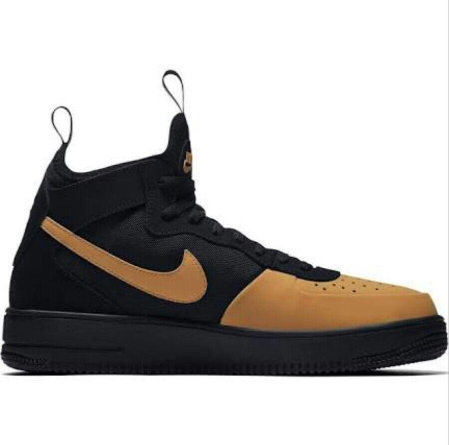 Nike Air Force 1 Ultraforce Mid Tech Men's 11.5 Black gold Tan AH6746002 NEW