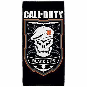 Call-of-duty-Noir-Ops-Embleme-Serviette-Bain-Plage-100-Coton