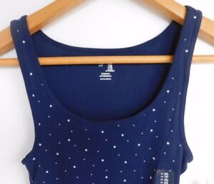 58bd056310b772 NWT Gap Women s Stretch Ribbed Tank Top Navy White Stars X-Small ...
