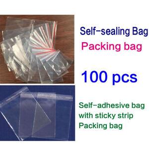 Resealable Zip Lock Bags Self Seal 100Pcs PE Replacement Transparent Set