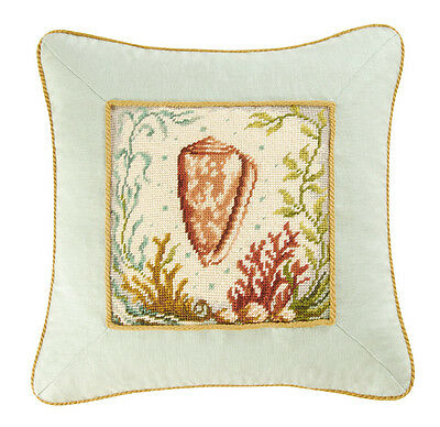 BEACH SHELL CONE NEEDLEPOINT ACCENT PILLOW : AQUA CORAL NATURAL SHELLS