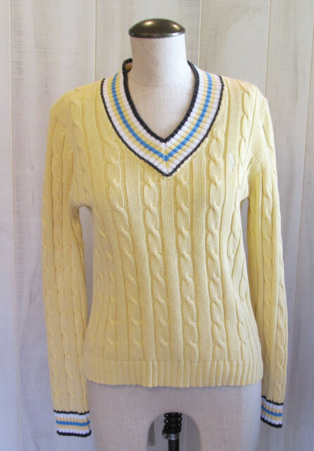 cfd1c1f812 IZOD Women s Yellow V-Neck Cotton Cable Knit Sweater Golf Logo SZ Small PC-
