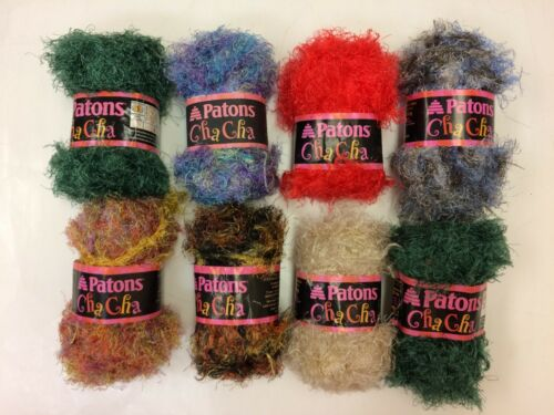 PATONS CHA CHA~7 color choices~50gr~all nylon~fun scarves /& hats