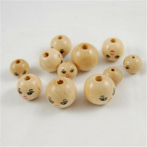 10X Wooden Round Painted Smile Face Loose Beads Diy Jewelry Craft Beads 10-25mm
