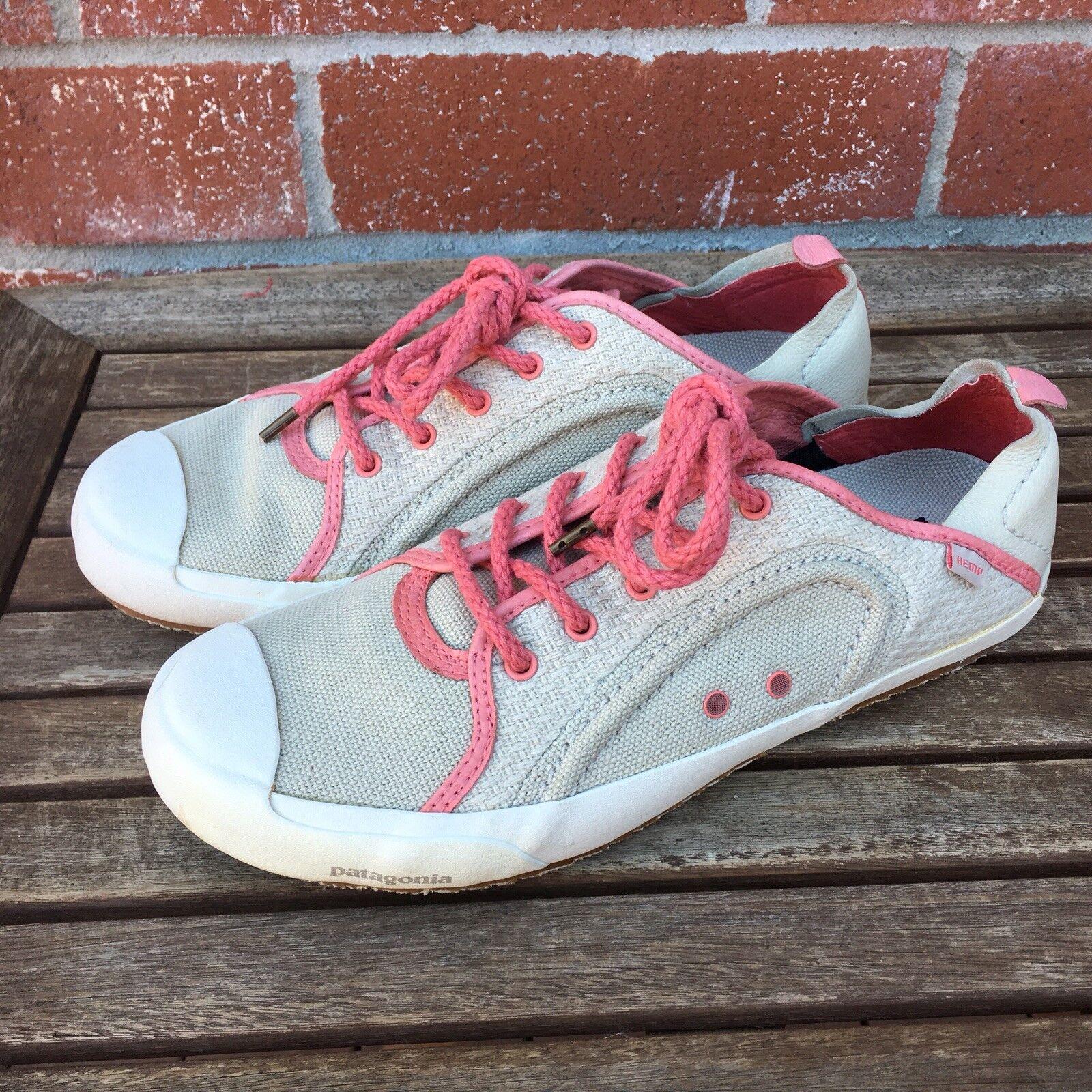 Patagonia Hemp Lace Up shoes Patrol Tenny Tennis Sneakers Slip On Pink Beige Sz..
