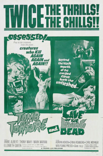 Tomb of torture Cave of the living dead horror movie poster print