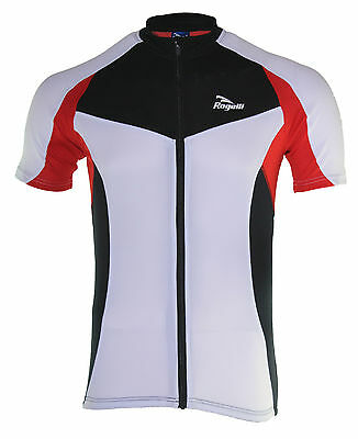 Mens Cycling Jersey Ranco, Full Zipper, Race Fit, White/Red/Black