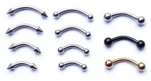 14g-6mm-12mm-Curved-Eyebrow-Bar-Body-Piercing-Jewelry-Ring-Coloured-Spike-Cone
