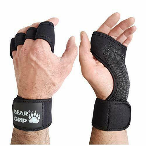 M BEAR GRIP Bodybuilding Open Workout Gloves for Crossfit Black