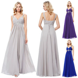 Sequins-Long-Chiffon-Bridesmaid-Formal-Prom-Ball-Gowns-Party-Evening-Dress-New