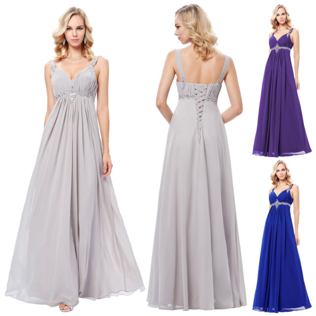 Sequins Long Chiffon Bridesmaid Formal Prom Ball Gowns Party Evening Dress New