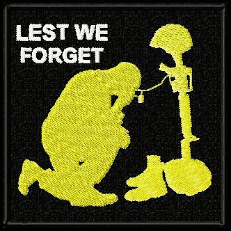 LEST WE FORGET EMBROIDERED BIKER PATCH