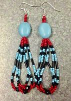 Native American Style 3.5 Red Turquoise Black Beaded Earrings