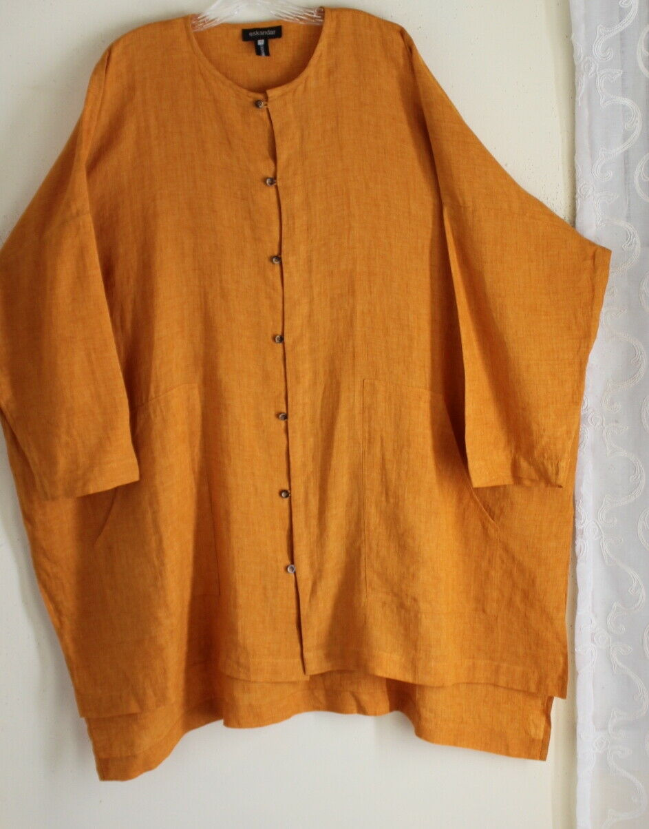 Eskandar Sz 1 ICONIC Hi-Low orange Variegated Very Long Linen Tunic Shirt Top