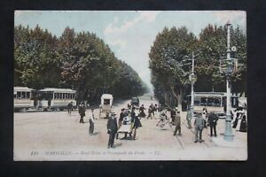 Postcard-Antique-Animated-1909-Marseille-round-Point-and-Promenade-of-the