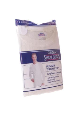Gildan Mens Thermal Top Winter Weather Warm Under Shirt Off White M Lg XL NEW