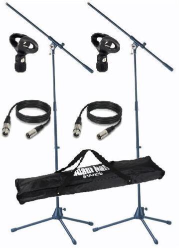 Mikrofonhalter 2x Mikrofonstativ Set mit je 2x 6m Mikrokabel Transporttasche