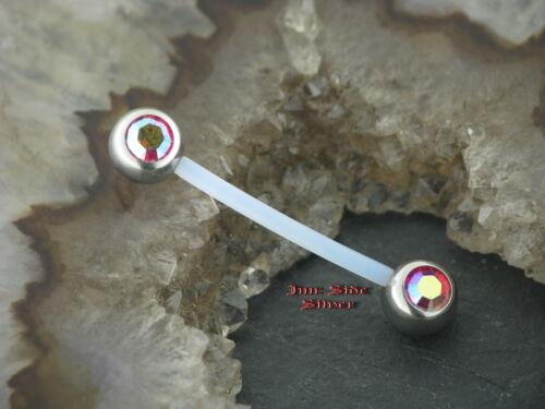 Brust Piercing Industrial Kunststoff Kristallkugel multicolor aurora borealis