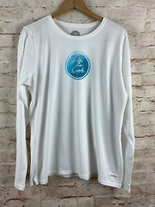 LIFE-IS-GOOD-Women-039-s-Long-Sleeve-Crusher-White-Blue-Tee-T-shirt-New-with-Tags