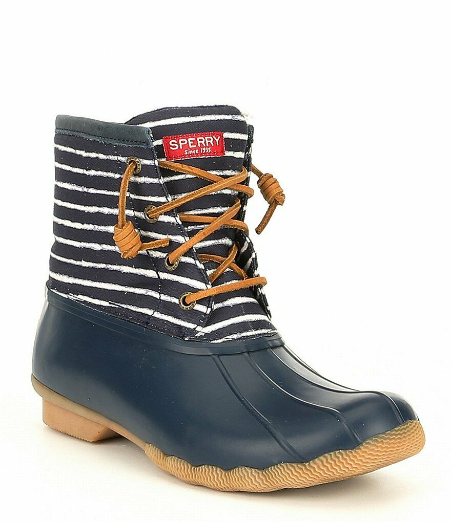 NIB Sperry Top-Sider Saltwater Duck Boots Stripe Navy bluee Women's Sz 7 - 11