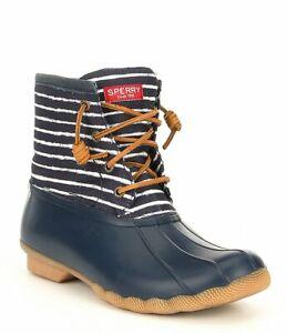 8f164a575cd6 NIB Sperry Top-Sider Saltwater Duck Boots Stripe Navy Blue Women s ...