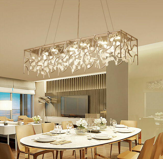 Crystal Dining Room Hotel Light Parlor Rectangle Pendant Lamp Ceiling Fixtures For Sale Online Ebay