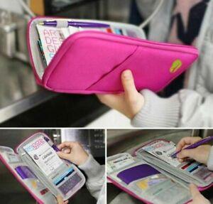 Travel-Passport-Credit-Card-Cash-Document-Wallet-Bag-Holder-Organizer-Black-Pink
