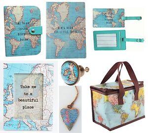 Vintage world map duck egg blue passport holder cover sass belle image is loading vintage world map duck egg blue passport holder gumiabroncs Gallery