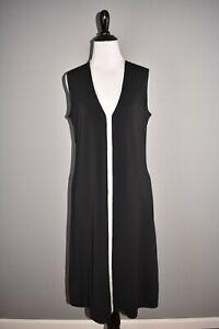 ST. JOHN COLLECTION NEW $995 Black Sleeveless V Neck A-line Dress Petite
