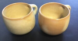 Frankoma-Vintage-Coffee-Mugs-Set-of-2-4C-Beige-Tan-Pottery-Made-in-USA
