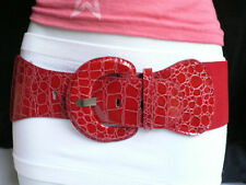 New Women Red Elastic Belt Hip Stretch High Waist Fashion Round Buckle XS S M