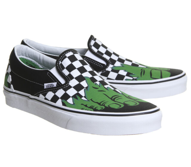 modern style distinctive design new appearance Vans X Marvel Classic Slip On Hulk Checkerboard Mens Skate Shoes