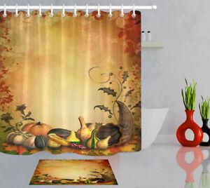Image Is Loading Waterproof Fabric Autumn Thanksgiving Harvest Shower Curtain Bathroom