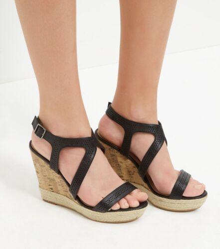 6 New 5 38 High Look Strappy Size Bn Heel Scarpe Sandali Nero 39 Wedge Slingback IEqtqwr