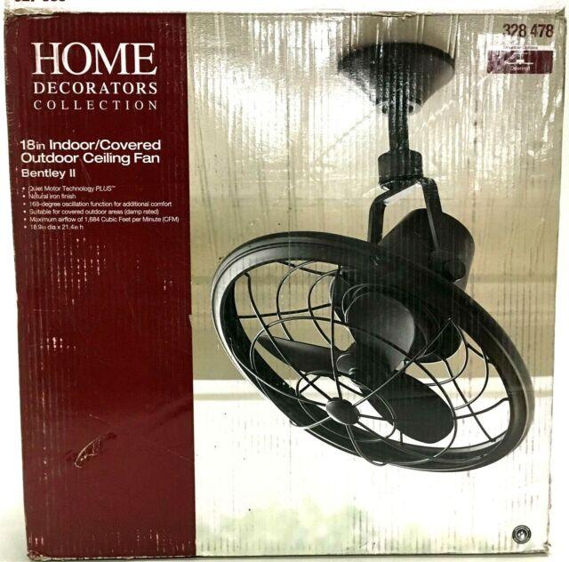 Bentley II 18 in Indoor//Outdoor Natural Iron Oscillating Ceiling Fan with Wall Control