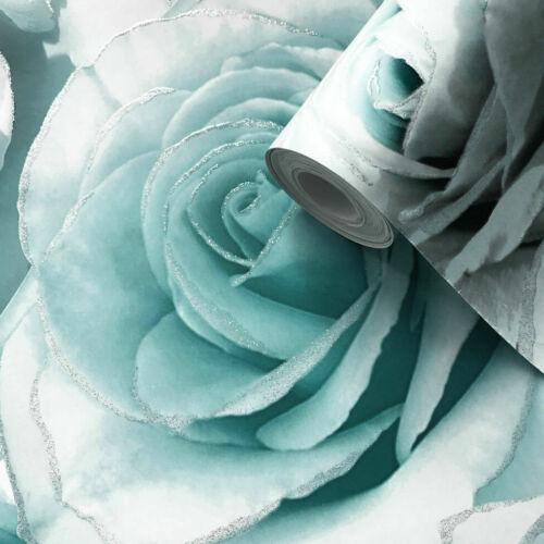 Muriva Madison Glitter Aqua Wallpaper 139523 Flower Floral Large Roses Blue