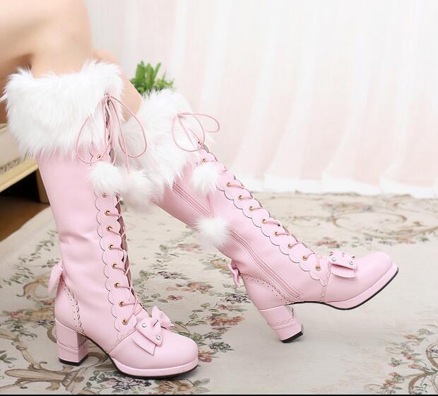 Lolita Lolita Lolita Mujer Dulce Tacones Altos Pom Pom Invierno botas Altas Rodilla ribete de piel japonés  envío gratuito a nivel mundial
