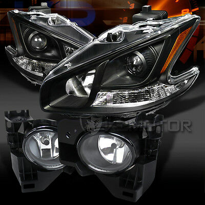 For 2009-2014 Nissan Maxima Black Projector Headlights+Clear Fog Lights w/Switch