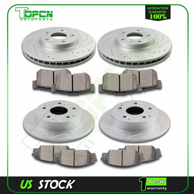 Front + Rear Brake Rotors And Ceramic Pads Fits 02 03 04