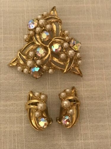Vintage Beautiful Schiaparelli Pearl&rhinestone Br