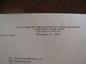 1969-Ezra-Taft-Benson-Signed-Letter-Latter-Day-Saints-Church-Mormon-LDS-church