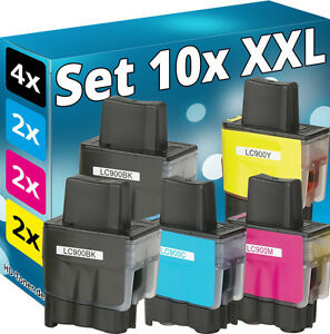 10x-TINTE-PATRONEN-fuer-BROTHER-DCP110c-DCP115c-DCP120c-FAX1835-FAX1840-LC-900