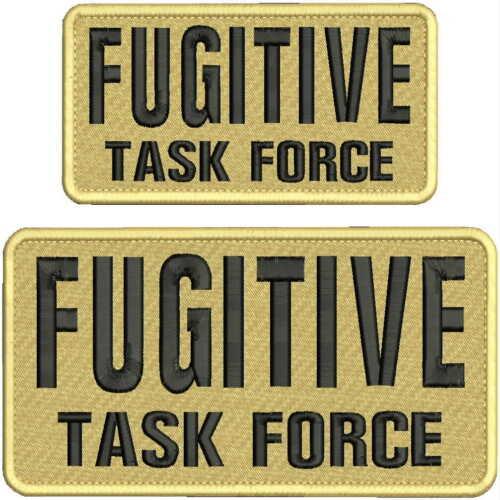 Fugitive Task Force Enbroidey Patch 4x8 /&3x6   hook on back tan//blk