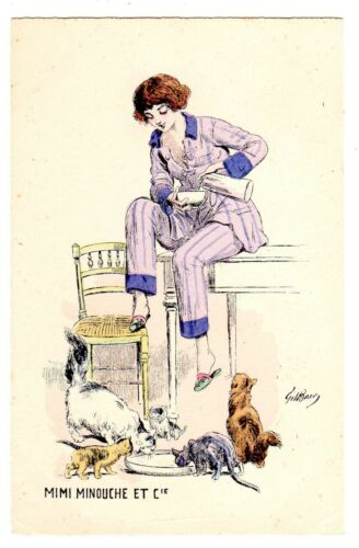 POSTCARD FRENCH MIMI MINOUCHE & COMPANY WOMAN WITH CATS SIGNED GILLES BAER