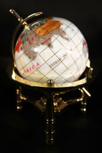 Genuine Multi-Gemstone Desktop Globe Gold Tone Base White Pearl Globe Free S /& H