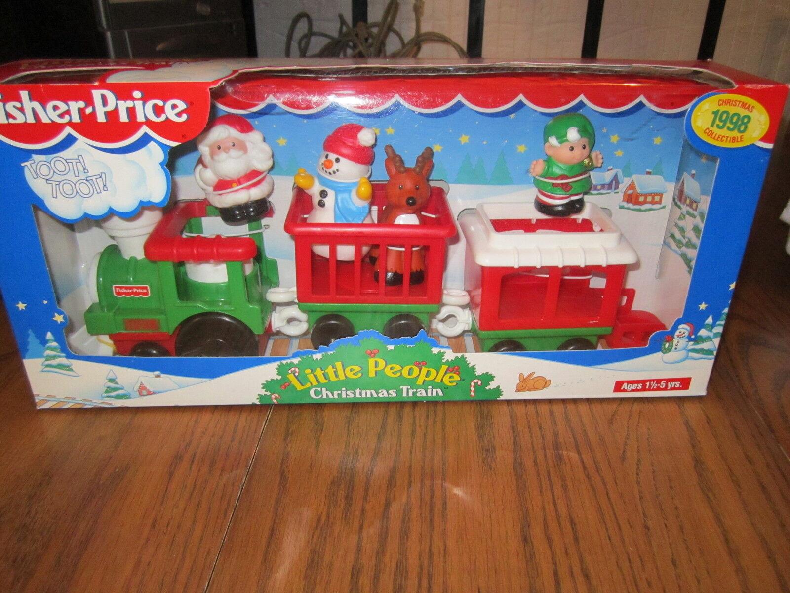 Fisher Price liten människor Christmas Train New Santa Snowman Reindeer 1998