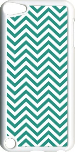 Teal Blue Chevron Design on iPod Touch 5th Gen 5G White TPU Case Cover